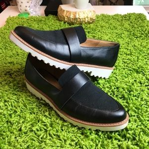14th Union Trendy Navy Leather Loafers White Soles